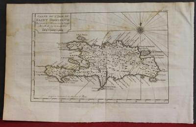 Dominican Republic & Haiti 1775 Bellin Unusual Antique Copper Engraved Map