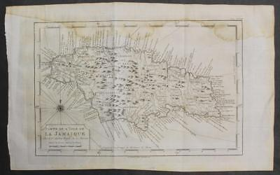 Jamaica West Indies 1776 Bellin Unusual Antique Original Copperengraved Map