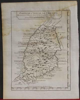 Grenada West Indies 1777 Bellin Unusual Antique Original Copperengraved Map
