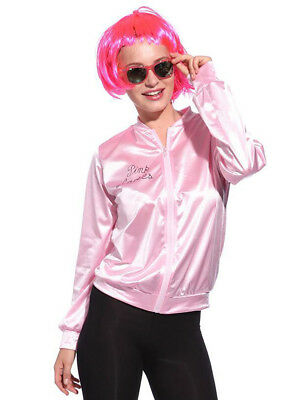 Womens Pink Ladies Jacket 1950s 50s Grease Adult Girls Fancy Dress Costume SizeS