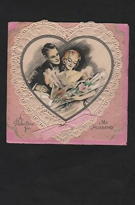 vintage 1940s  Lace A Valentine For My Husband Card Just same old loving 3 words