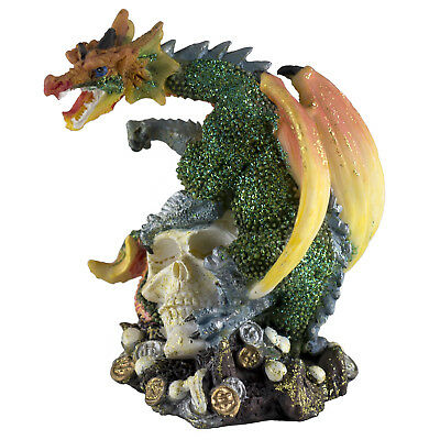 "Mini Green Glittery Dragon On Skull With Coins Figurine 3.5"" High New!"
