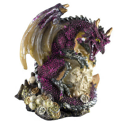 "Mini Magenta Glittery Dragon On Skull With Coins Figurine 3.25"" High New!"