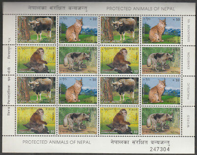 Nepal 1995 Protected Animals 16 Values Mint Sheet