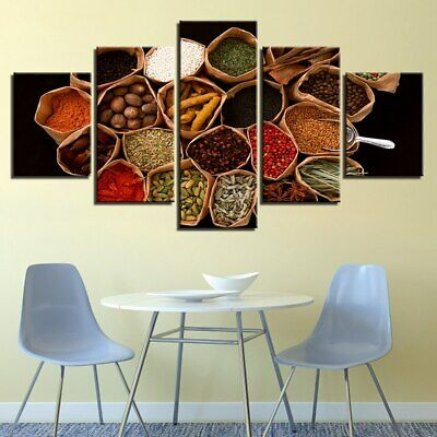 Spices World Map Kitchen 5 panel canvas Wall Art Home Decor Poster Print