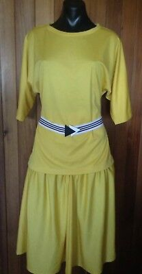 Original Vintage 80's Ladies Skirt Suit Size 14 Stretch Knit Yellow Skirt & Top