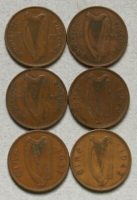 IRELAND One Penny 1928,1933,1935,1940,1941,1942 Lot of 6 Coins, No Reserve!