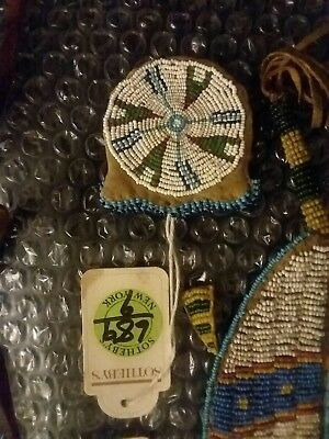 Native American Indian Beaded Hide Pouch / Bag