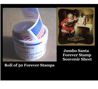 Roll of 50 Forever Flag Stamps & Jumbo Santa Souvenir Sheet. Fast Ship and Track