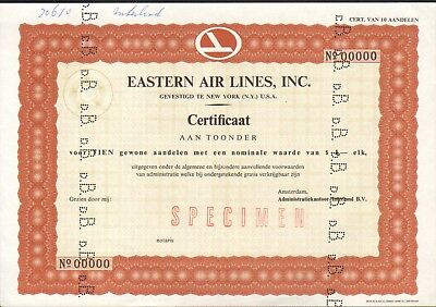 EASTERN Air Lines, certificate for 10 shares, about 1970 - SCARCE specimen