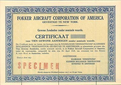 FOKKER Aircraft Corp. of AMERICA, certificate for 10 shares, 1929 - SCARCE