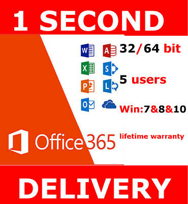 INSTANT Microsoft Office 365 Pro LIFETIME Subscription 5 Devices Windows Mac