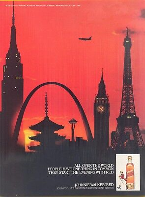All over the World, 1982 Johnnie Walker Red Scotch Whisky Magazine Print Ad