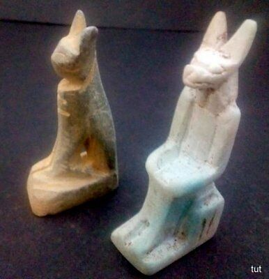 2 RARE ANCIENT EGYPTIAN ANTIQUE AMULET CAT,Anubis1456-1245 BC