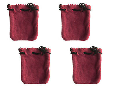 """4 Mauve Genuine Suede Leather 3"""" Drawstring Pouch Bag Jewelry Coin Renaissance"""