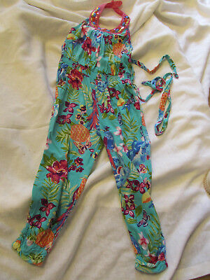 Monsoon Girls Sequin & Bead Turquoise & Multicoloured Jumpsuit - Age 4 years