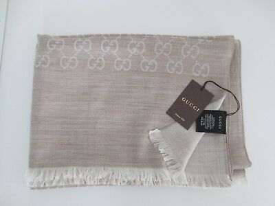 4a71eed20ac71 GUCCI LUXURY Unisex Schal Tuch Wolle Seide GG-Muster 70x200 cm IVORY   Braun  neu