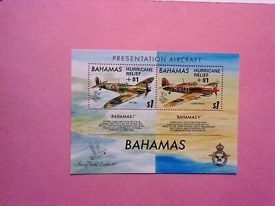 BAHAMAS: 1992  Hurricane Relief ovptd on Presentation Spitfire Sheet  MNH MS952