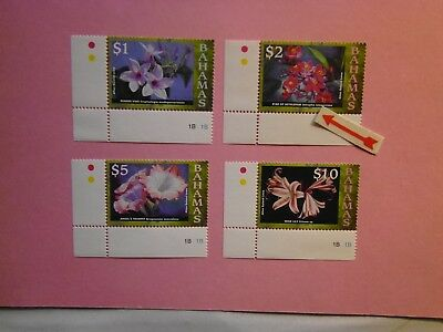 BAHAMAS: 2008 Flowers Reprints $1 to $10  4values MNH Sg1435a/38a