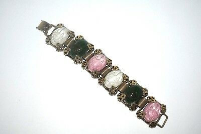 Vintage Large Glass Carved Scarabs Egyptian Revival Bracelet