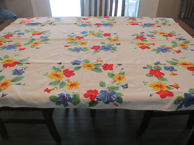 Vintage Collectible Tablecloth With Brilliant Colored Flowers Measures 54 X 47