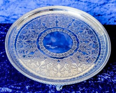 Antique Silver Plate Round Gallery Tray with 3 Legs