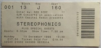 Stereophonics Original Used Concert Ticket Wembley Arena London 13 Dec 1999