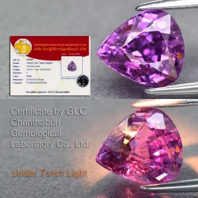 Rare! 1.58ct 7.4x6.7mm Pear Natural Unheated Color Change Sapphire *Certified