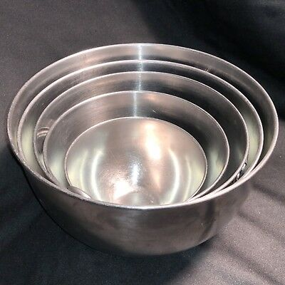 5 Revere Ware Stacking Stainless Steel Mixing Bowl Set