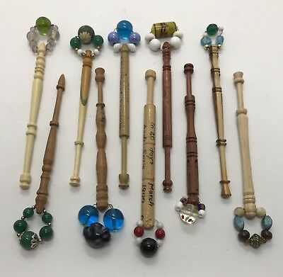 Ten Vintage Antique Wood Lace Maker's Bobbins Decorated With Bead Spangles