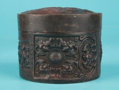 Red Copper China's Old Handmade Carving Seal Box Antique Collection
