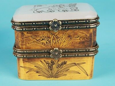 Old Cow Bones Hand-Carved Old So Lid Jewelry Box Rare Collection