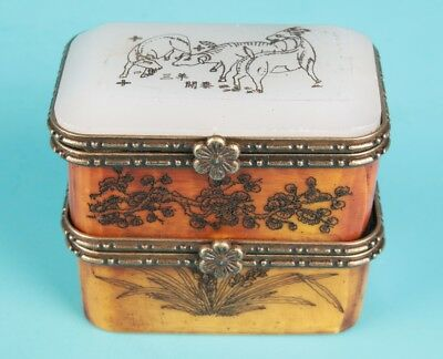 Sanyang Old Beef Bone Hand Carving Jewelry Box Gift Collection