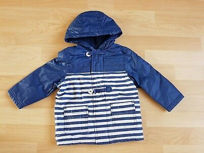 Mini Club Baby Boys Blue White Stripe Waterproof Jacket Coat Size 12-18 months