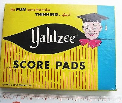 Vintage 1956 Yahtzee SCORE PAD Cards FULL BOX Game New Unused Great Condition