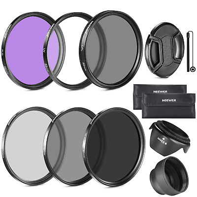Neewer 67MM Lens Filter Kit:UV,CPL,FLD,ND2,ND4,ND8 and Hood for CANON Rebel...