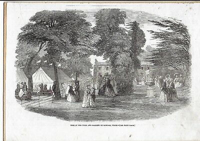 BOWOOD House WILTSHIRE Fete in Park & Gardens c1860 ENGRAVING with Tax Stamp