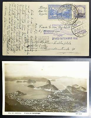 BRAZIL to GERMANY 1932 ZEPPELIN, Rare 6th SAF Flight Airmail Pic PPC to , Brasil