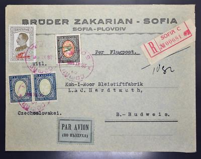 BULGARIA to CZECH 1928 High Value Airmail Stamp on Flight Cover SOFIA to Budweis