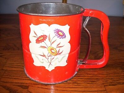 Vintage Androck Hand-i-Sift Sifter Red w/ Flower Pattern.. Look!