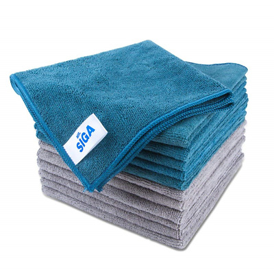 """MR. SIGA Microfiber Cleaning Cloth, Pack of 12, Size: 15.7"""" x"""
