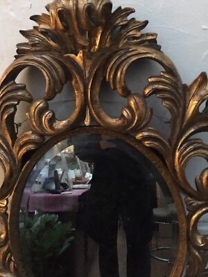 Original Antique Large Ornate Gilt Mirror.