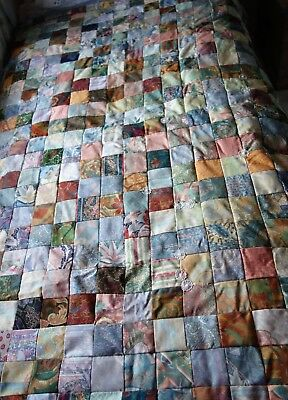 vintage handmade patchwork quilt 64x46 inches