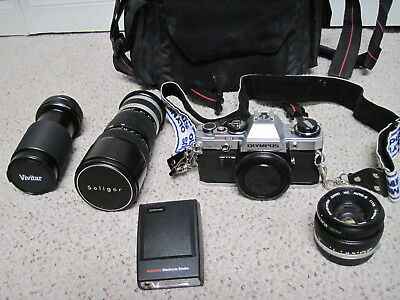 Vintage Olympus Om10 35 Mm Camera W/ Extra Lens And Flash And Case Nr