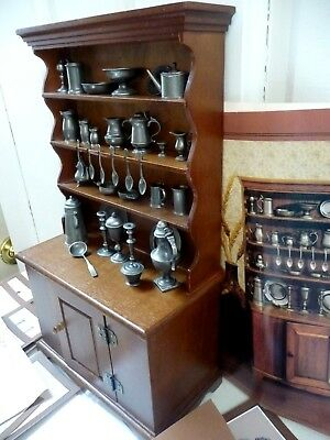 Franklin Mint Colonial American Antique Pewter Miniatures Collection Hutch 1982