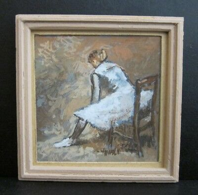 Tiny 3x3 Signed Framed VTG 1960s/70s Acrylic Painting After Degas Seated Dancer