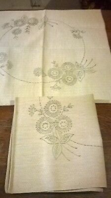 Pair Vintage Stamped Design For Embroidery, Cushion Covers.  Circle & Flowers
