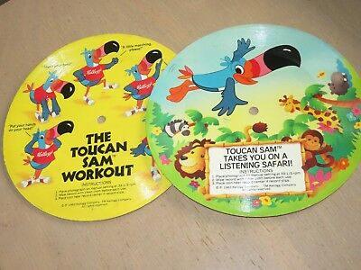 2 Vintage 1983 Froot Loops Toucan Sam Cardboard Picture Records Workout Safari