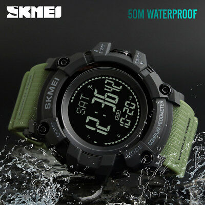 SKMEI Luxury Watch Men Women Pedometer Compass Alarm Digital Wristwatch 1356 68