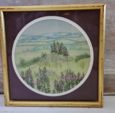 vintage hand embroidered /textile art country fields  picture 9x9 inches